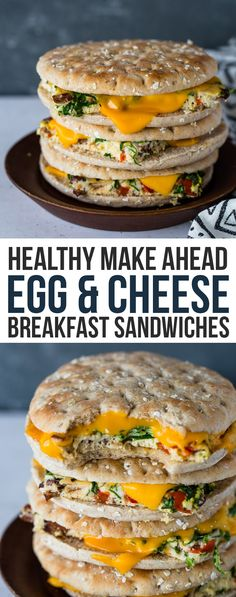 Healthy make ahead egg cheese breakfast sandwiches with keto option gimme delicious fried egg grilled cheese sandwich Sandwich Thins, Egg And Cheese Sandwich, Breakfast Bagel, Make Ahead Breakfast Sandwich, Vegetarian Breakfast, Healthy Breakfast Recipes, Healthy Recipes, Breakfast Casserole, Breakfast Ideas