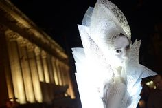 An artist performs in Luxlumina light performance during a festival of visual theatre in Sofia.