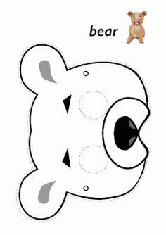 printables for kids Animal Masks For Kids, Animal Crafts For Kids, Mask For Kids, Printable Animal Masks, Bunny Templates, Bear Mask, Mask Drawing, Bear Costume, Bear Theme