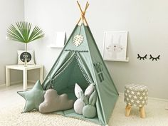 Teepee and mat is made of cotton. The mat is made of cotton fabric, suitable in color and texture to the teepee. Care instructions for teepee We produce only eco-friendly materials! Diy Tipi, Tp Tent, Wooden Feather, Kids Teepee Tent, Play Tents, Baby Tent, Child Teepee, Girls Tent, Ideas Habitaciones