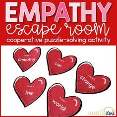 This empathy puzzle-solving teamwork experience is an escape room style activity to practice cooperative skills like communication and listening. Students work together to solve 5 empathy-themed puzzles, unscramble code words, and earn empathy hearts! Use this cooperation activity for small group counseling or classroo