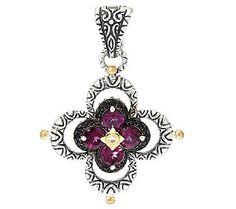 Barbara Bixby Sterling & 18K Garnet & Black Sapphire Flower Enhancer