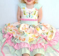 Girls Party Dress, Butterfly Dress, Boutique Ruffle Dress, Twirl Dress, Tea Party Dress, Fancy Girls Dresses *Custom Order Size 6-12 mos- 8*