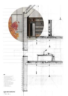 Studio  1:20 Detail + Interior It is incredibly important to understand the material and tectonic qualities of the project. For me this is an integral part of architectural design, and was something I was really keen to investigate. The Studio spaces, which form the intermediate parts of the Tekstiler Kvartal (bridging the gap between industry and residential) are constructed of a load bearing brick structure. This is to link the studio spaces, materialistically with the perimeter block, and…
