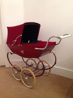 Red Vintage Silver Cross Baby Pram