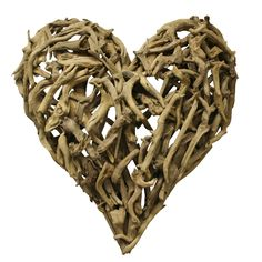 Driftwood heart wall decor, could be DIY with driftwood or tree branches. It's sold at this site for $170.