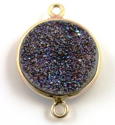 Rainbow Druzy Crystal Cluster Bezel Coin Component by Beadspoint, $8.99