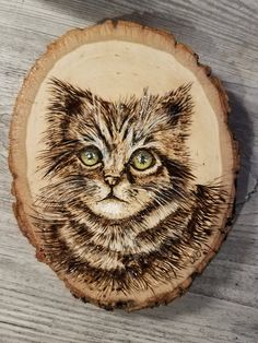 Cindy- Wood burned Kitty by JulesPaints on Etsy