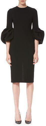 Carolina Herrera Bell-Sleeve Sheath Dress, Black