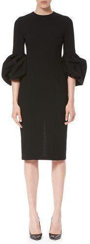 Carolina Herrera Bell-Sleeve Sheath Dress, Black