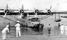 The Pan American Clipper arriving on Ford Island in Pearl Harbor after her flight from California. April 17, 1935