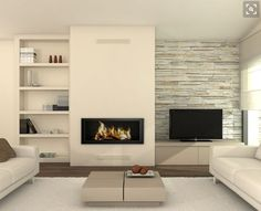 Linear fireplace with TV location parallel and floating shelves