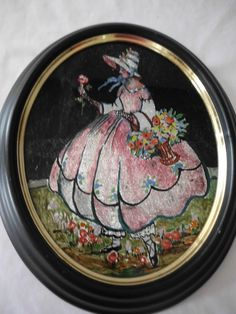 Victorian Girl Reverse Foil Painting MARY MARY QUITE CONTRARY mixed media | eBay