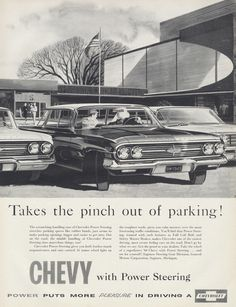 1960 Chevy Car Ad Chevrolet Automobile w/ Power Steering Parking Lot Illustration Vintage Advertisement Garage Dealership Wall Art Print by AdVintageCom on Etsy https://www.etsy.com/listing/245668462/1960-chevy-car-ad-chevrolet-automobile-w