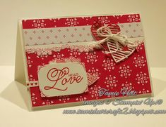 2017 Occasions Catty. Stampin' Up! Sealed with Love, Real Red, Sending Love DSP Stack, Love Notes Framelits