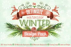 Watercolor Winter Design Pack #watercoloreffects #watercolorgraphics #photoshopbrushes #patternandtextures #colorfulbackgrounds