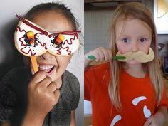 Cookie masks, fun kids' activity!  http://dawnypoo.blogspot.com/2009/10/tuesday-tutorial-costume.html