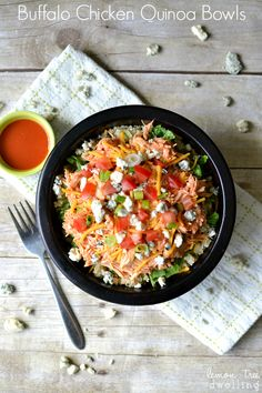 Buffalo Chicken Quinoa Bowls | Use rice and homemade ranch mix.