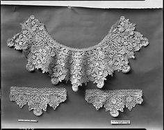 Collar and Cuffs, 17th century cathedral lace, french, metropolitan museum of art