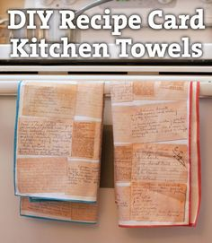Recipe Card Kitchen Towels from Mama Say What?! Turn someone's handwritten recipe cards into useful art with SpoonFlower & some custom printed fabric!