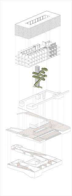 Ganadores Concurso Edificio Docente y de Investigación Escuela de Arquitectura UC,Courtesy of Equipo Oltman Ahlers Mención Honrosa