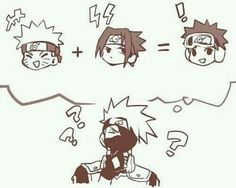 Right Kakashi, it makes sense. the attitude of Naruto plus surname of Sasuke equals Obito Uchiha. Sasuke X Naruto, Naruto Comic, Anime Naruto, Kakashi And Obito, Naruto Fan Art, Naruto Cute, Sarada Uchiha, Naruto Shippuden Anime, Naruto Gaiden