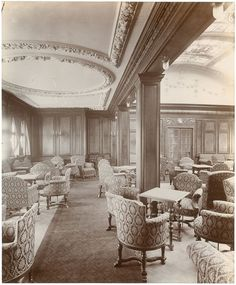 The First Class Smoking Lounge on the liner Lusitania. The photograph forms part of the Southern Methodist University on Flickr Commons. I can just about recall ocean liners when they had smoking lounges : splendid places where you could smoke your pipe and read a book in peace.