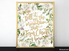 Go tell it on the mountain gold calligraphy Christmas wall