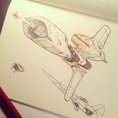 Photo by jakeparker Spaceship Concept, Spaceship Design, Concept Ships, Concept Art, Spaceship Drawing, Arte Sci Fi, Sci Fi Art, Mechanical Design, Design Girl