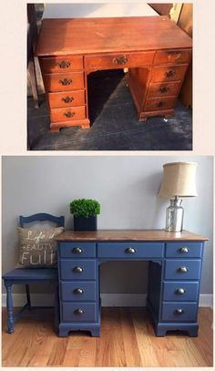 Another beaut by Wood Creek Boutique. Love the work that Karen and her hubby do Another beaut by Woo Diy Furniture Renovation, Refurbished Furniture, Paint Furniture, Repurposed Furniture, Furniture Projects, Furniture Makeover, Furniture Design, Refinished Desk, Desk Redo