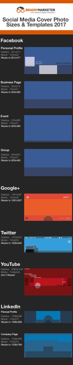 Check out our infographic with social media cover photo sizes for mobile and desktop!   Go to BrainyMarketer.com to download all 9 templates for FREE!  I made these available for all my fellow entrepreneurs and marketers, so I hoo you find them useful 🤓