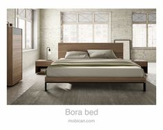 Click here to see Mobican's Bora bed. It is being introduced at #HPMKT this week. It is accompanied by our Mimosa high chest and night tables | Cliquez ici pour voir le lit Bora de Mobican. Il est accompagné du semainier et des tables de nuit Mimosa: http://mobican.com/en/bora/ #mobican #bed #bedroom #madeincanada #contemporary #wood #furniture