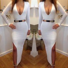 Sexy V Neck Long Sleeve Side Split White Polyester Sheath Ankle Length Dress