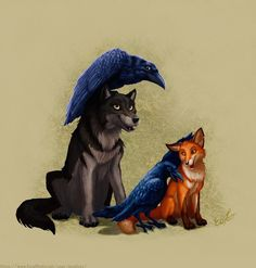 Some thing I noticed wolves and ravens seem to have a mythical connection as well as crows and foxes seem to have. Wolves have ravens and foxes have crows Cute Animal Drawings, Animal Sketches, Cute Drawings, Raven And Wolf, Wolf Love, Crow Art, Raven Art, Anime Wolf Zeichnung, Anime Wolf Drawing