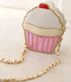 A delectable cupcake crossbody purse.
