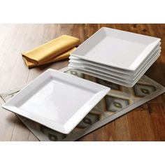 Better Homes and Gardens Square Dinner Plates, White, Set of 6.  Would need 2 set!