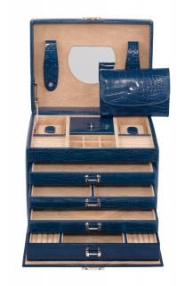 Windrose Croco großer Schmuckkoffer dunkelblau Limited Edition - Bags & more Wind Rose, Set Of Drawers, Artificial Leather, Dark Blue