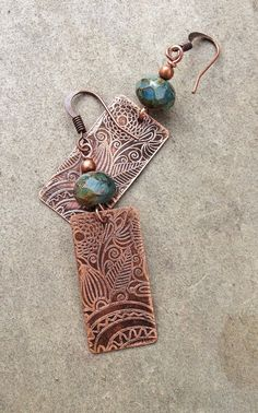 Copper Earrings / Etched Copper Earrings / Copper by Lammergeier, $32.00