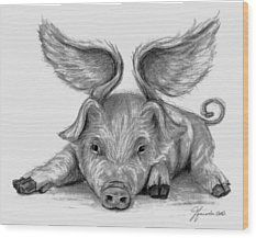 When Pigs Fly Wood Print by J Ferwerda
