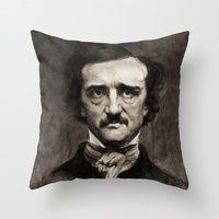 Throw Pillows featuring EDGAR ALLAN POE by Jason Seiler