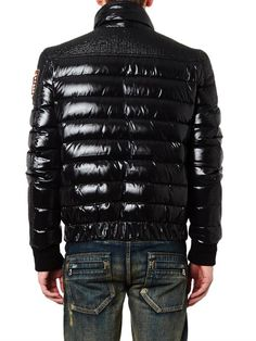 Balmain Quilted down biker jacket