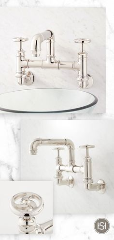 Embrace industrial design with the Watts Wall-Mount Bridge Bathroom Faucet from Signature Hardware. The pipe-style spout and wheel handles makes this a unique addition to your guest bathroom. Black Faucet Bathroom, Industrial Style, Industrial Bathroom Vanity, Bathroom Styling, Industrial Style Bathroom, Industrial Bathroom, Industrial Bathroom Lighting, Industrial Bathroom Decor, Bridge Bathroom Faucet