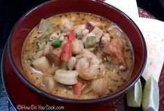 The stew combines shrimp, scallops and swai fish fillets, and adds red and green peppers, plus chipotle and jalapeno peppers, with just a little kick from cumin and chili powder.
