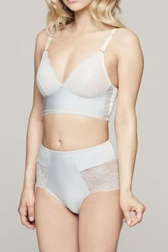 A marriage of delicate lace and contemporary design, Fortnight's Ivy bra is both comfortable and elegant. The long-line band creates lift without the use of underwire, and the lace cups stretch to provide additional support.    Final Sale   Ivy Wire-Free Bra by Fortnight Lingerie. Clothing - Lingerie & Sleepwear - Bras Portland, Maine