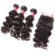 3 Bundles Best Virgin Brazilian Hair With Closure More Wave On Sale