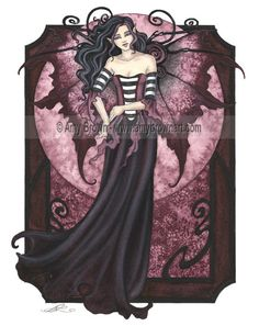 """Goth Nouveau"" ORIGINAL ART - Watercolor Paintings A - H - Amy Brown Fairy Art - The Official Gallery"