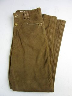 Men s Vintage Suede Bavarian Folk Trousers Embroidered Oktoberfest Brown 32W