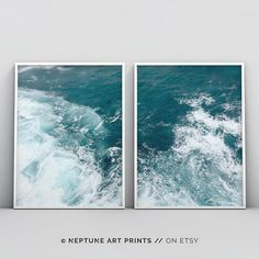 Coastal Wall Art Print Teal Turquoise Blue and White