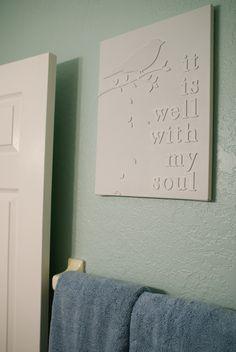 White Words on White Canvas - Inexpensive DIY Artwork