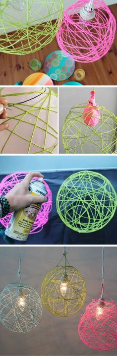 Illuminated Yarn Lanterns | 24 DIY Teenage Girl Bedroom Decorating Ideas